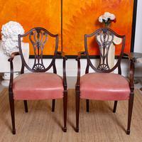 6 Dining Chairs Hepplewhite Mahogany Leather 19th Century (15 of 15)