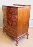 Antique Bow Front Figured Walnut Chest of Drawers (8 of 11)