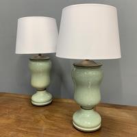 Pair of Art Deco Teal Blue Ceramic Lamps (2 of 8)