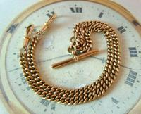 Antique Pocket Watch Chain 1890s Victorian 18ct Rose Rolled Gold Albert With T Bar (4 of 12)