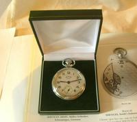 Vintage Pocket Watch 1955 Services Army Two Tone Dial Chrome Case FWO (10 of 10)