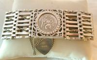 Vintage Sterling Silver Gate Bracelet 1976 St Christopher & Heart Padlock 34.3 Grams (2 of 12)