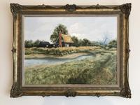John Ridgewell Essex Cottage Superb Large Oil Painting Excellent Frame (2 of 9)