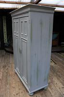 Fabulous Old Pine & Grey Painted Wardrobe / Hall / Kitchen Cupboard - We Deliver! (6 of 12)