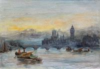 Superb Original 1921 View of Westminster, London Seascape Oil Painting (2 of 12)