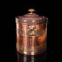 Antique Fireside Bin, English, Copper, Brass, Decorative, Scuttle, Edwardian (6 of 12)