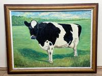 """20th Century Oil Painting Holstein Friesian Prized Cow """"Susan"""" Animal Portrait (3 of 20)"""