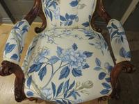 Victorian Walnut Armchair New Upholstery c.1860 (11 of 11)