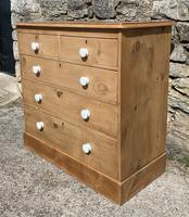 Antique Victorian Stripped Pine Chest of Drawers (3 of 15)