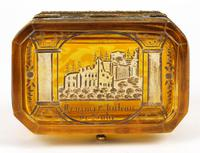Bohemian Antique Engraved Metal Mounted Overlay Yellow Glass Sugar Casket 19th Century (13 of 19)