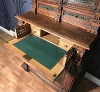 Victorian Carved Oak Secretaire Bookcase (25 of 25)