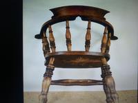 Captain's Chair or Smoker's Bow. Good and Original Victorian (8 of 9)