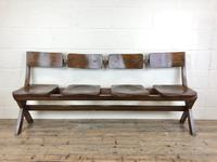 Antique Victorian Elm Four Seater Bench (M-717) (10 of 12)