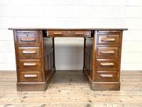 Antique Oak Pedestal Desk (2 of 10)