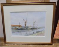 Watercolour Brick wharves near Milton Listed artist Alan Whitehead (Free shipping to Mainland England) (4 of 10)