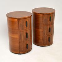 Pair of Art Deco Walnut Bedside Chests (2 of 13)