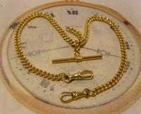 Vintage Pocket Watch Chain 1950s 14ct Rolled Gold Double Albert With Sliding T Bar (2 of 11)