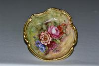 Royal Worcester Dish with Flowers on Mossy Ground, Signed J Freeman 1935 (3 of 4)