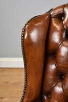 Victorian Hand Dyed Brown Leather Wing Back Armchair (11 of 13)
