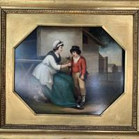 Antique Georgian oil painting study of mother and son at The Old Manor, Abbots Morton, Worcs (6 of 10)