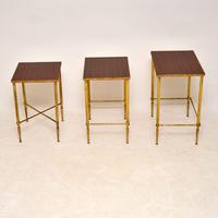 1950's Vintage Brass & Mahogany Nest of Tables (8 of 10)