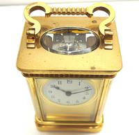 Rare Antique French 8-day Carriage Clock Unusual Masked Dial Case with Enamel Dial (10 of 10)