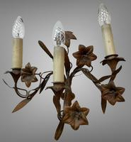 Vintage French Set of Three Wall Lights Sconces Rustic Gilt Bronze Lilies (6 of 10)