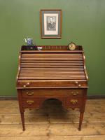 Antique Oak Roll Top Writing Desk, Tambour Front Bureau Desk (7 of 20)