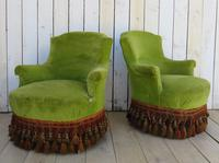 Pair of French Antique Napoleon III Tub Armchairs (10 of 10)