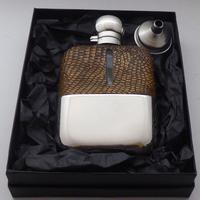 Silver Plated Snake Skin Bound Glass Hip Flask Drew & Son London c.1910 (12 of 12)