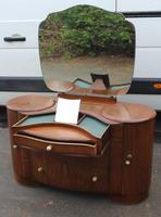 1940's Large Walnut Deco Dressing Table with Mirror by Shraeger (7 of 8)
