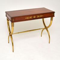 Antique Neoclassical Walnut & Brass Writing / Side Table (5 of 16)