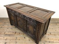 Early 20th Century Carved Oak Coffer or Blanket Box (9 of 12)