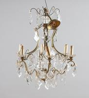 Large French Glass & Brass Chandelier