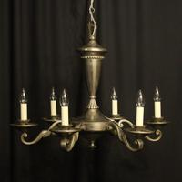 French Silver Gilded 6 Light Antique Chandelier