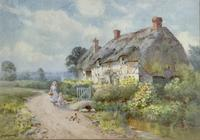 Thomas Noel Smith Watercolour - Mother & Child in Front of Thatched Cottage