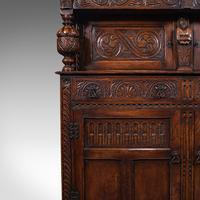 Antique Court Cabinet, English, Oak, Sideboard, Credenza, Jacobean Revival, 1890 (12 of 12)