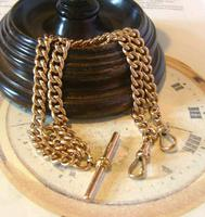 Victorian Pocket Watch Chain 1890s Large 10ct Rose Gold Filled Double Albert & T Bar (2 of 11)