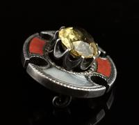 Antique Scottish Agate and Citrine Brooch, Sterling Silver (7 of 11)