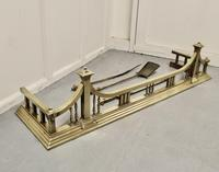 Large Victorian Arts & Crafts Brass Fender & Tools (5 of 6)