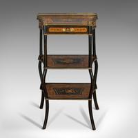 Antique Etagere, Italian, Mahogany, Boxwood, 3 Tier Whatnot, Victorian c.1900 (7 of 12)