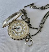 Pretty Silver Ladies Fob Watch & Fob c.1890 (4 of 9)