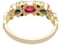 0.50ct Ruby, 0.32ct Sapphire & Diamond, 18ct Yellow Gold Dress Ring - Vintage c.1940 (4 of 9)