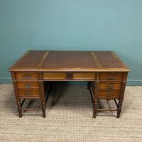 Stunning Victorian Maple & Co Antique Oak Pedestal Desk (4 of 9)