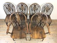 Set of Six 20th Century Wheelback Chairs including Two Carvers (3 of 20)