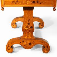 Victorian Walnut Marquetry Writing Table attributed to Edward Holmes Baldock (10 of 17)