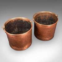 Pair of Antique Fireside Bins, English, Copper, Coal, Fire Bucket, Victorian (8 of 12)