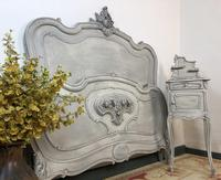Antique French Double Bed Frame & Pot Cupboard Painted in Weathered Grey (5 of 12)