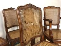Vintage French Set of 6 Cherrywood Bergère Cane Dining Chairs with Carvers (2 of 14)
