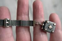 Victorian Silver Mesh Fob Chain with Rose Gilt Details & Star Fob, Antique c.1890 (2 of 11)